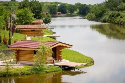 木屋附近的湖景