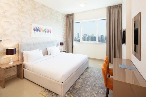 巴塞罗迪拜码头公寓客房内的一张或多张床位