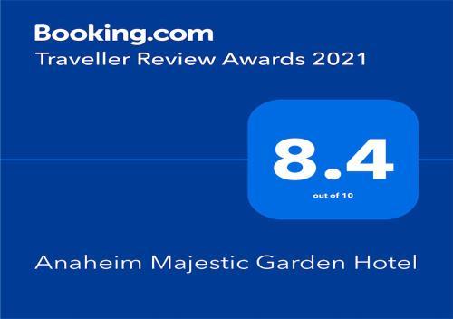 安纳海姆梅杰斯特花园酒店的证书、奖牌、标识或其他文件