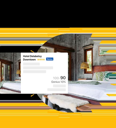 Genius酒店客房照片,卡片上显示了Genius会员10%优惠